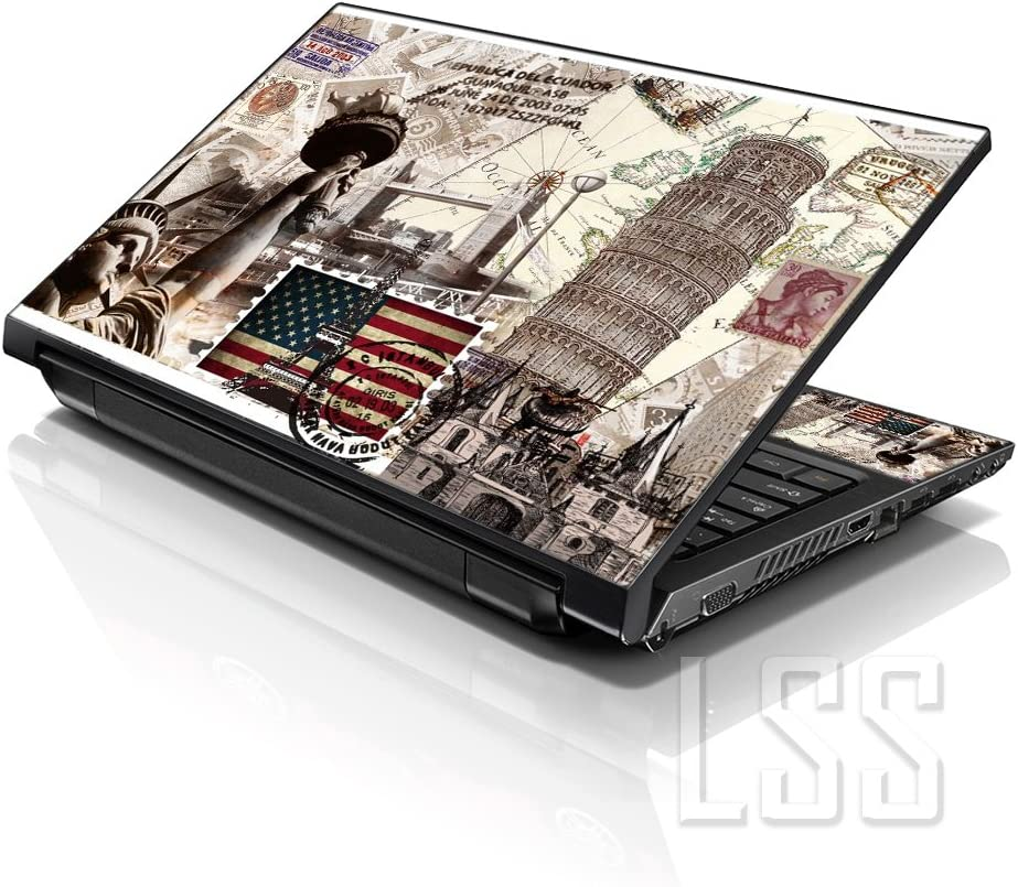 """LSS Laptop 15 15.6 Skin Cover with Colorful World Landmarks Pattern for HP Dell Lenovo Apple Asus Acer Compaq - Fits 13.3"""" 14"""" 15.6"""" 16"""" (2 Wrist Pads Free)"""