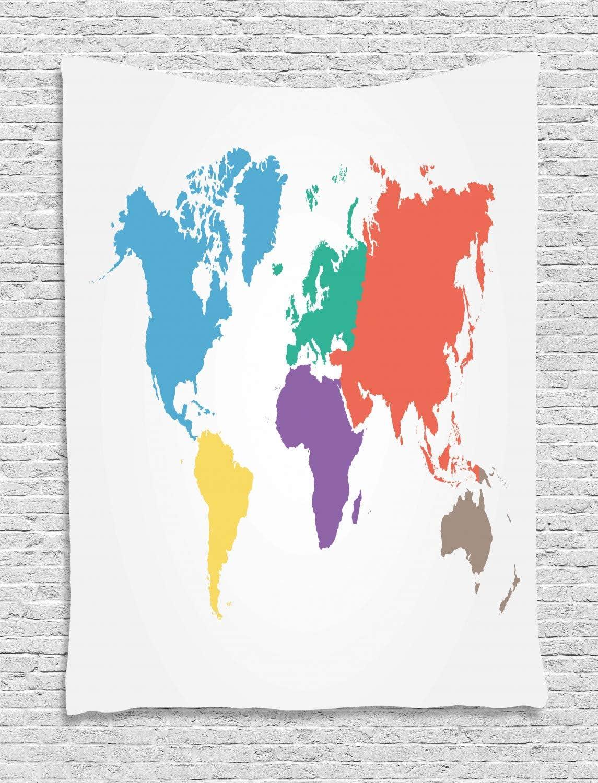 ABAKUHAUS Mapa Tapiz de Pared, Continentes Mundo Global, para el ...