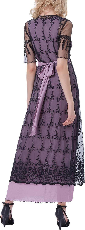 Belle Poque Steampunk Victorian Titanic Maxi Dress Tea Party Gown Antique Dress