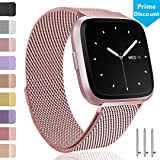 Ouwegaga Compatible for Fitbit Versa Bands Milanese Stainless Steel Wristbands Multi Color