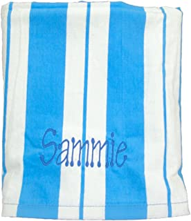 beach towel cotton 30in x 60in turquoise striped - Monogrammed Beach Towels