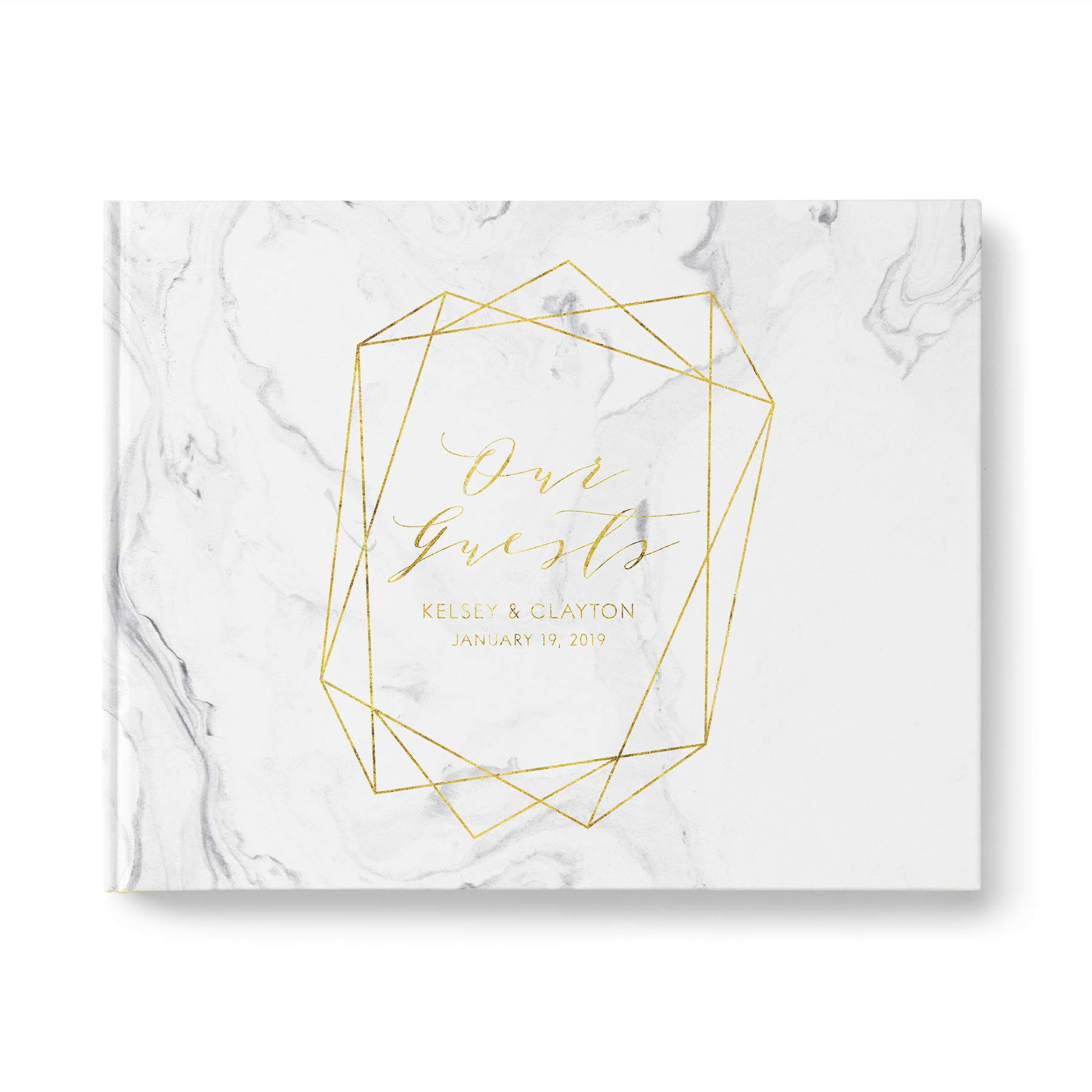 Marble Wedding Guest Book with Gold Foil Text, Blank White Pages, Casebound Hardcover, Landscape 10.9 x 8.75 inch, 40 Acid-Free Sheets (80 Pages Total)