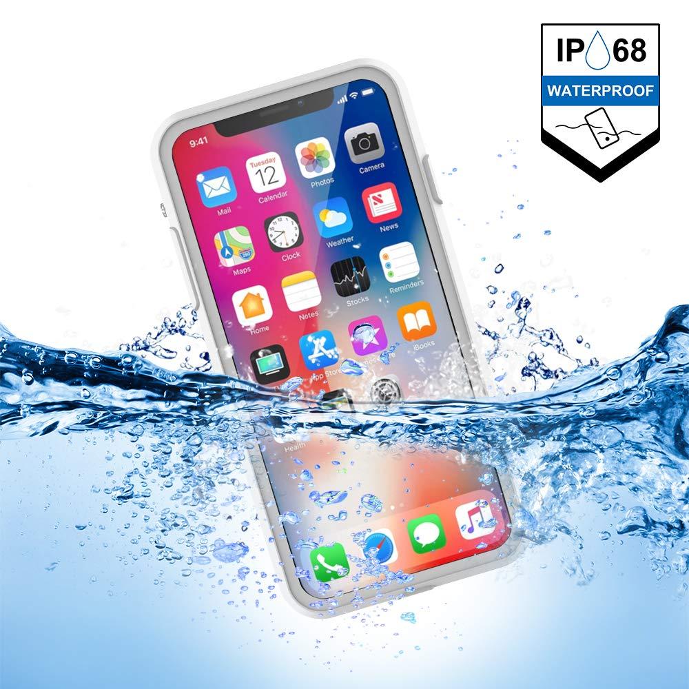 MIZUSUPI iPhone X Waterproof Case, Quality Assurance, IP68 Certified Waterproof Shockproof Dirtproof Snowproof Case for iPhone X (White) by MIZUSUPI