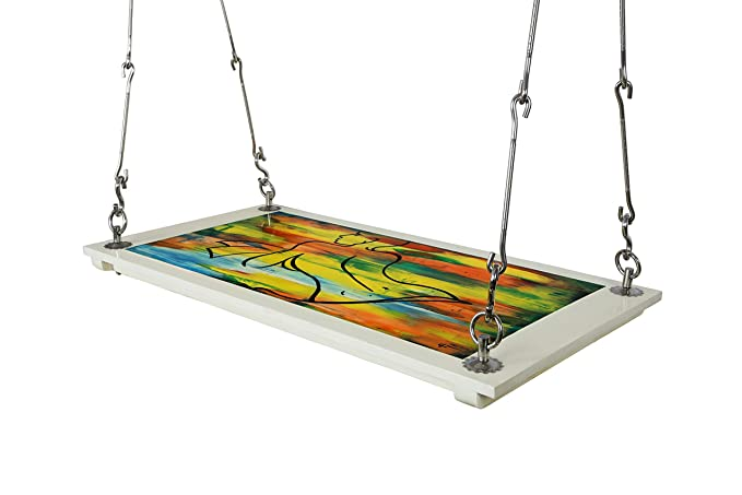 Riyo Moda Indoor Outdoor Plywood Hanging Swing Set/Jhula Cum Walll Painting (Modern Art) for Home Balcony and Garden (up to 200 Kgs of Human Weight)
