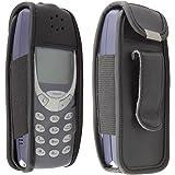 caseroxx Handy-Tasche Ledertasche mit Gürtelclip für Nokia 3310 / 3330 aus Echtleder, Handyhülle für Gürtel (mit Sichtfenster aus schmutzabweisender Klarsichtfolie in schwarz)