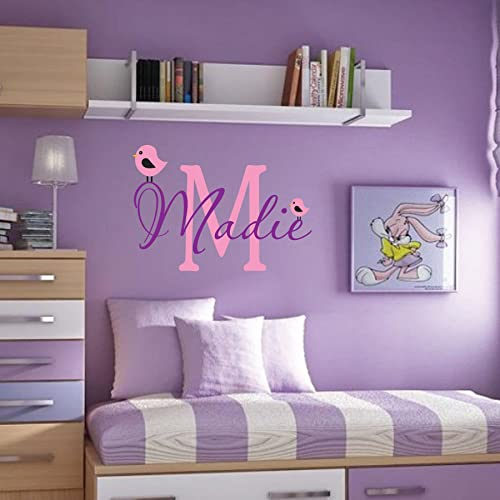 Personalized Monogram Kids Wall Decals   Girls Wall Decal  Name Vinyl  Lettering   Baby Girl