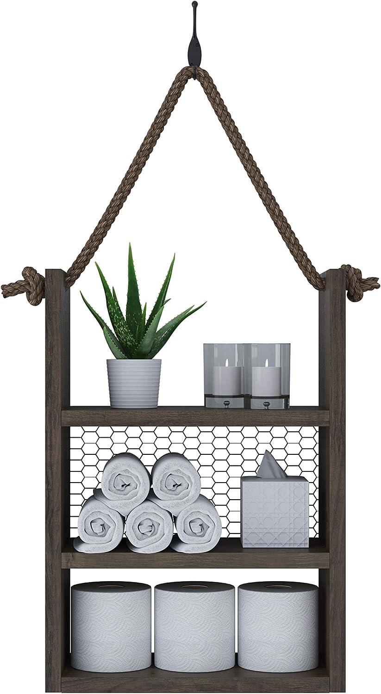 SFC Rustic Wood Bathroom Shelf Over Toilet, Bathroom Decor, Bathroom Shelves Wall Mounted, Rustic Bathroom Decor, Rustic Shelves, Farmhouse Bathroom Decor, Ladder Style Rope Hanging Shelf(Large)