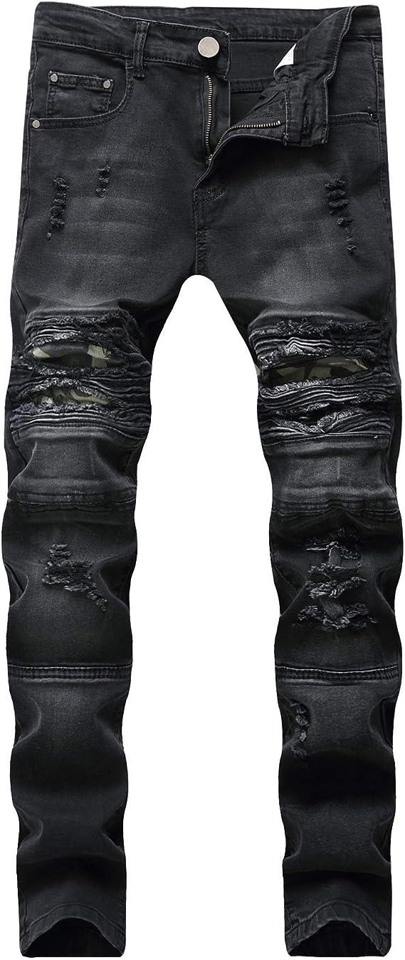 メンズジップワイドパンツ 穴の足スリム弾性カジュアルなジーンズ機関車迷彩大きいサイズのメンズズボン エフェクトライトウォッシュ (Color : Black, Size : 28)