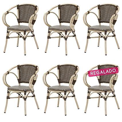 Rotin Design Lote 6 sillones Bistro Nina Aluminio y ...