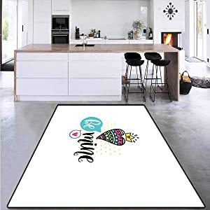 Romantic, Door Mats for Inside, Colorful Patterned Heart Shape with a Crown Creative Typography Phrase Be Mine, Area Rug Anti Slip Pad 6' x 9' Multicolor