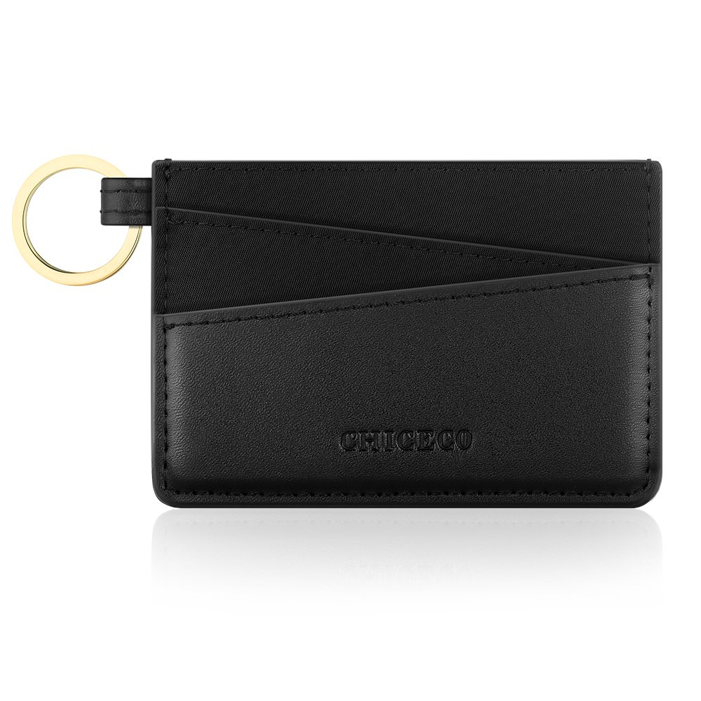 CHICECO Ultra Slim Credit Card Holder Wallet Card Case Compact Pocket Keychain – Black