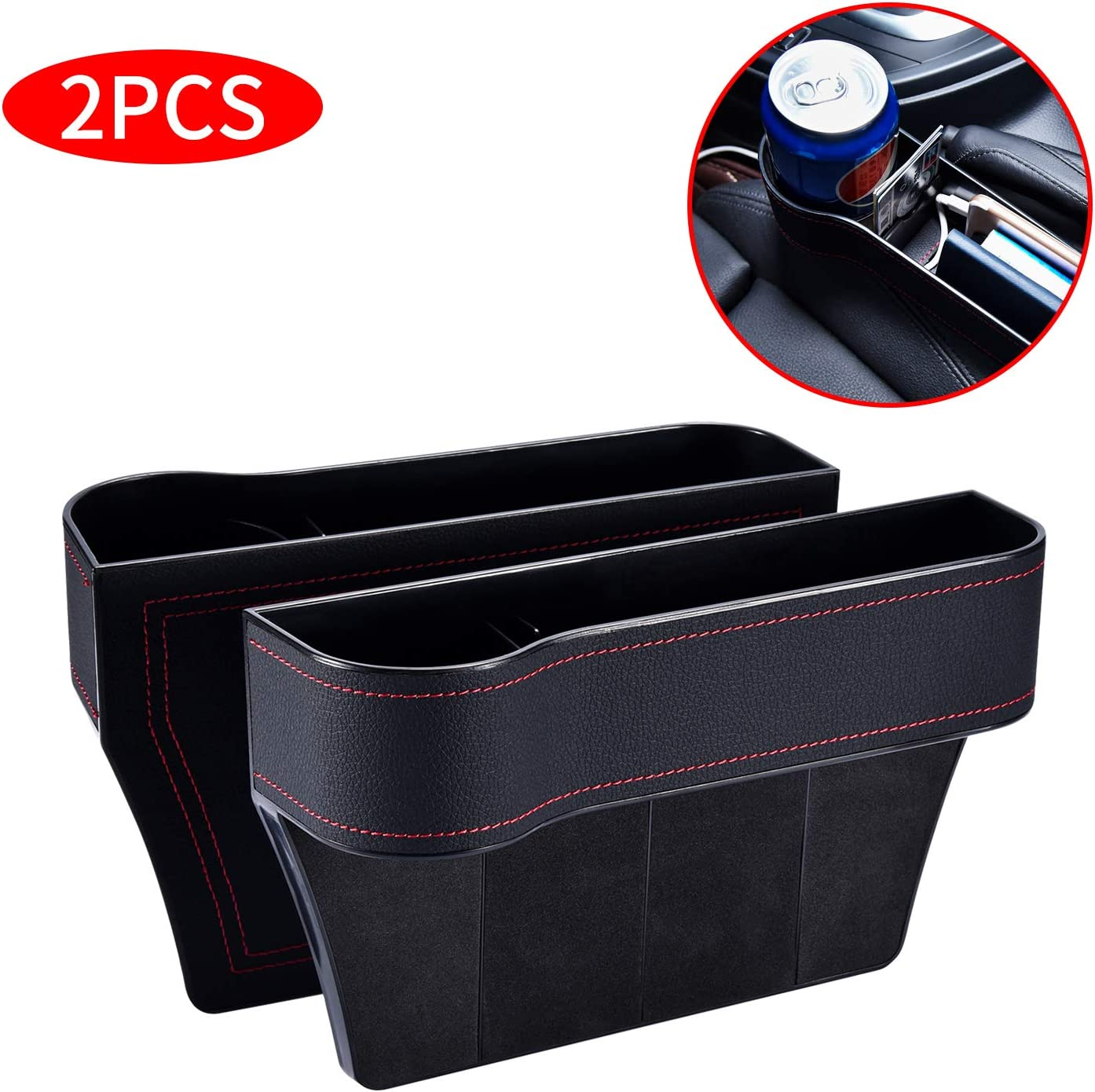 Car Console Side Organizer for Cellphone,Wallet Cup Holder Red Various Cards 2 Packs Car Seat Gap Filler PU Car Seat Organizer with Cup Holder
