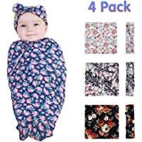4 Pack Baby Swaddle Blanket, Newborn Baby Wrap for Girls & Boys, Baby Receiving Swaddles with Headband, Perfect Shower Gifts, Infant Shower Items for Baby Boys Girls Unisex(0-3 Month)