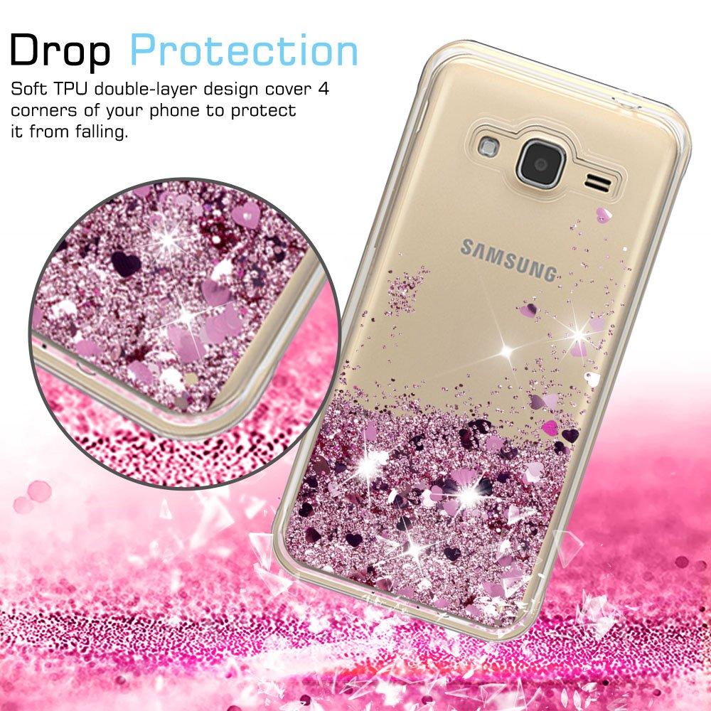 LeYi Funda Samsung Galaxy J2 Pro 2018 Silicona Purpurina Carcasa con HD Protectores de Pantalla,Transparente Cristal Bumper Telefono Gel TPU Fundas Case ...