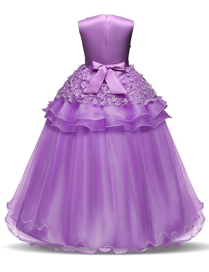 NNJXD Vestido de Princesa del Desfile con Encajes sin Mangas Falda ...