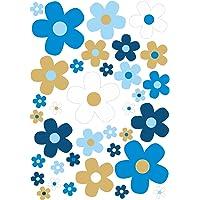 younikat Bloemen-stickerset bloemetjes blauw bruin I Flower-Power sticker voor fiets laptop mobiele telefoon keuken…