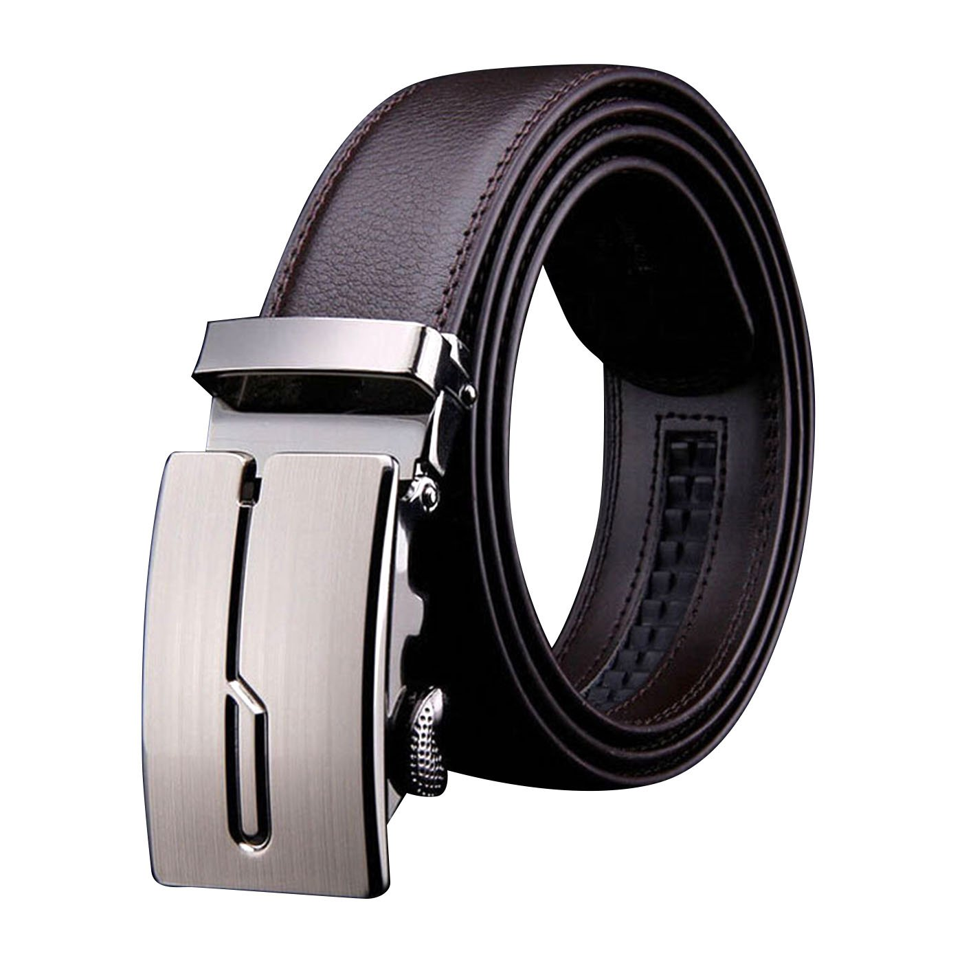 H-Time Men's Leather Ratchet Belt, Automatic Sliding Buckle Dress Belt for Men