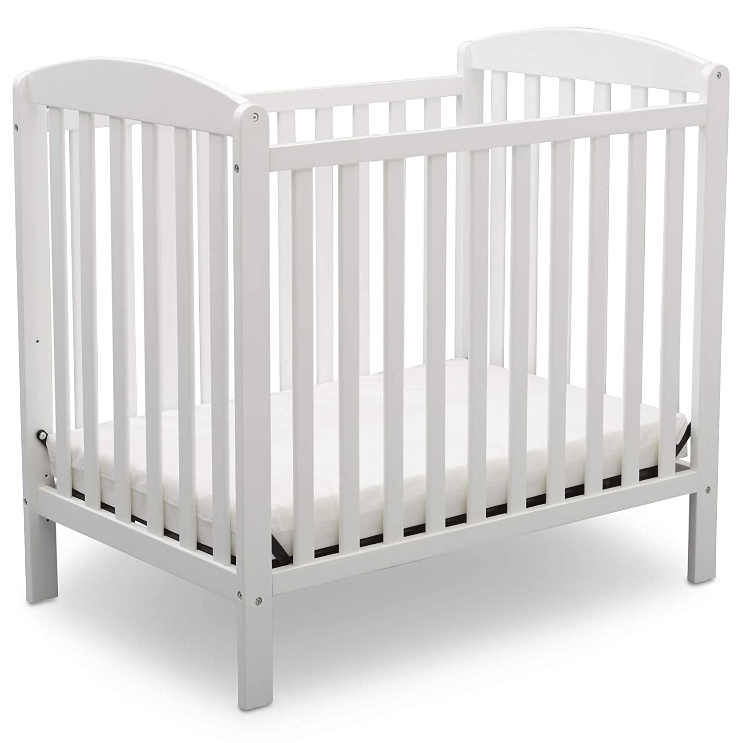 Delta Children Emery Mini Convertible Baby Crib with Mattress, Bianca White