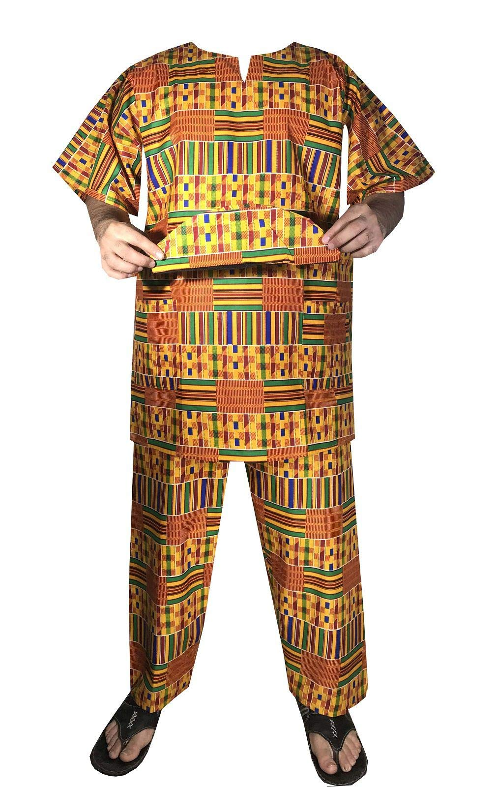 Decoraapparel African Men Black History Month Kent Traditional Dashiki Wedding Festival Church Party Pant Suit