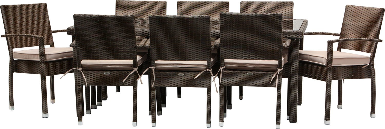 IB-Style - Premium Sitzgruppe Malaga inklusive ABDECKHAUBE | 2 Kombinationen | 2 Farben | alle Tischbeine haben einen regulierbaren Stellfuss | 18-tlg BRAUN - Polyrattan Stapelstühle Gartenmöbel Gartengarnitur Gartenset Rattan Gartengruppe
