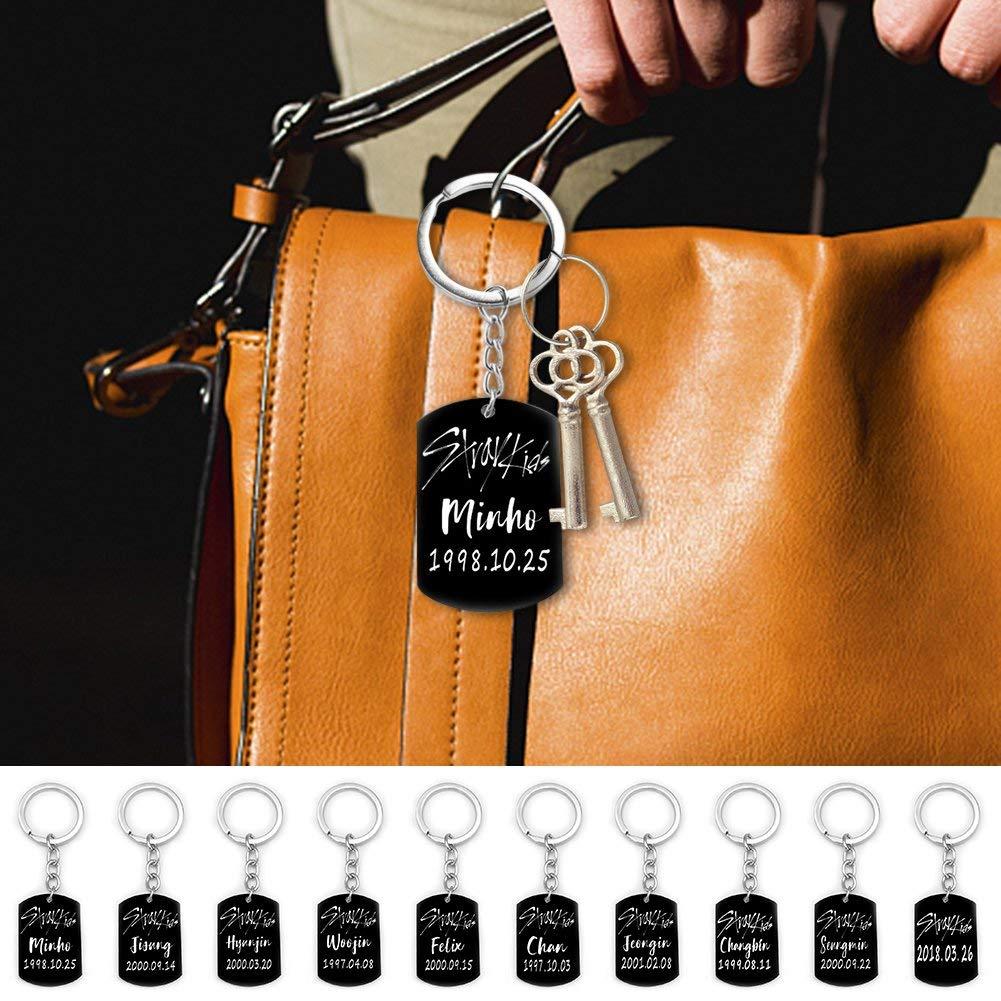10PCS GOTH Perhk KPOP Stray Kids Straykids Keychain Titanium Steel Key Ring Key Holder Key Lanyard Hot Gift for Straykids Fan