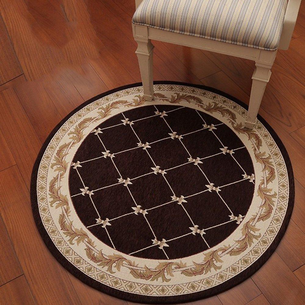 NAN&Vorleger Teppich Geometrische Muster Runde Mode Kreative Studie Haltbar (Farbe   Braun, größe   Diameter 160cm)