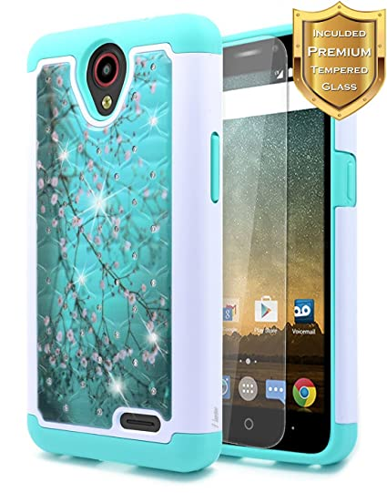 pretty nice bbc88 6a73a NageBee [Hybrid Protective] Soft Cover [Studded Rhinestone Bling] Diamond  Case with [Tempered Glass Screen Protector] for ZTE Maven 3 (Z835 at&T),  ZTE ...