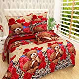 New panipat textile zone Poly Cotton Double Bedsheet with 2 Pillow Covers
