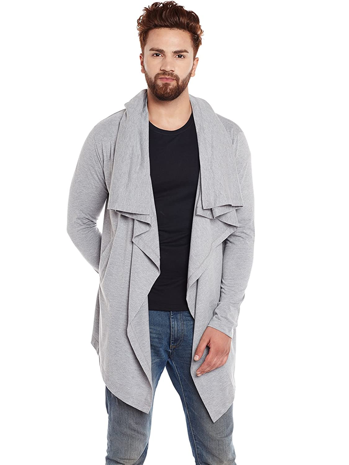 Tinted Men's Cotton Sinker Hooded Waterfall Cardigan: Amazon.in ...