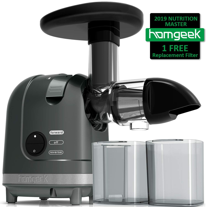 Homgeek Juicer Machine, Slow Masticating Juicer Extractor, 2 Filters, Quiet Motor & Reverse Function, Cold Press Juicer with Brush, High Nutrient Fruit & Vegetable Juice