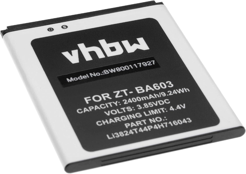 vhbw Li-Ion batería 2400mAh (3.85V) para móvil Smartphone teléfono ZTE BA520, BA603, Blade A520, Blade A520C, Blade A520C Dual SIM: Amazon.es: Electrónica