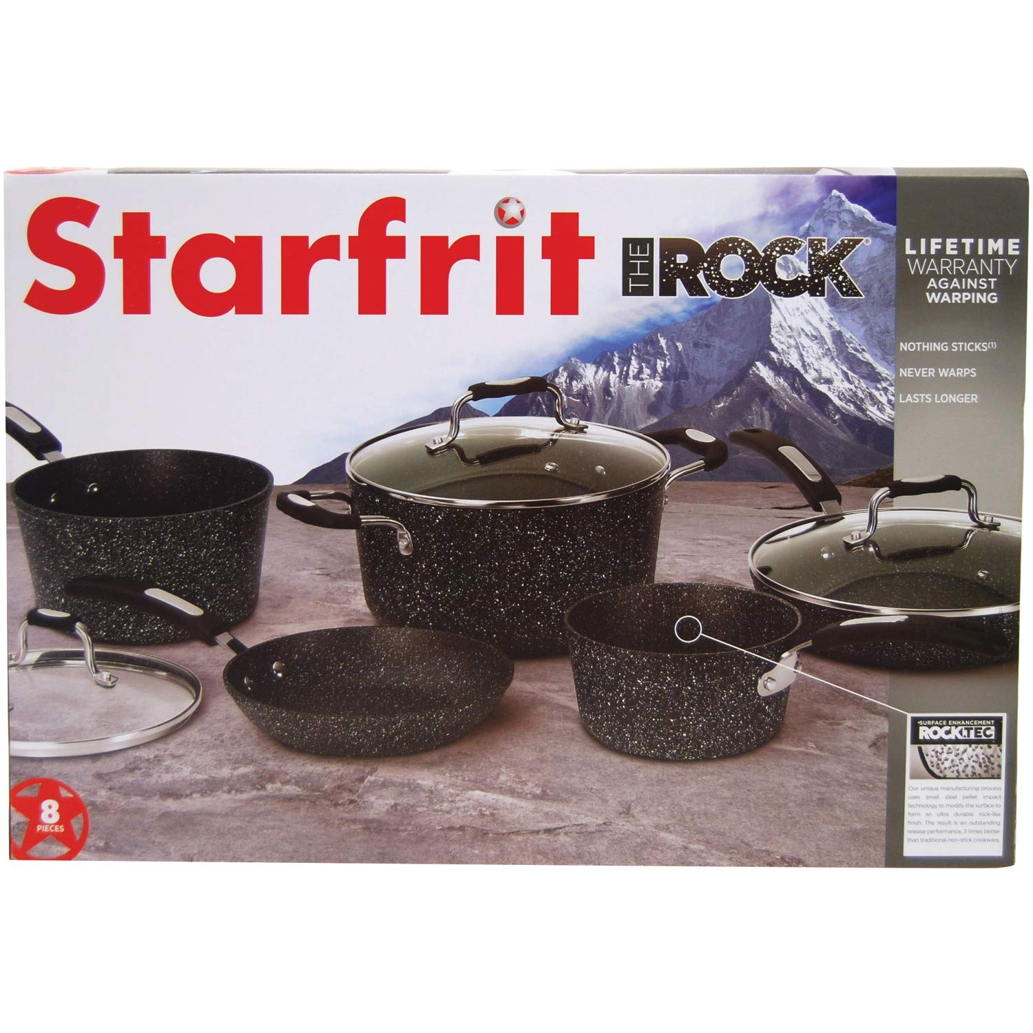 THE ROCK by Starfrit 030930-001-0000 8-Piece Cookware Set with Bakelite Handles, Black