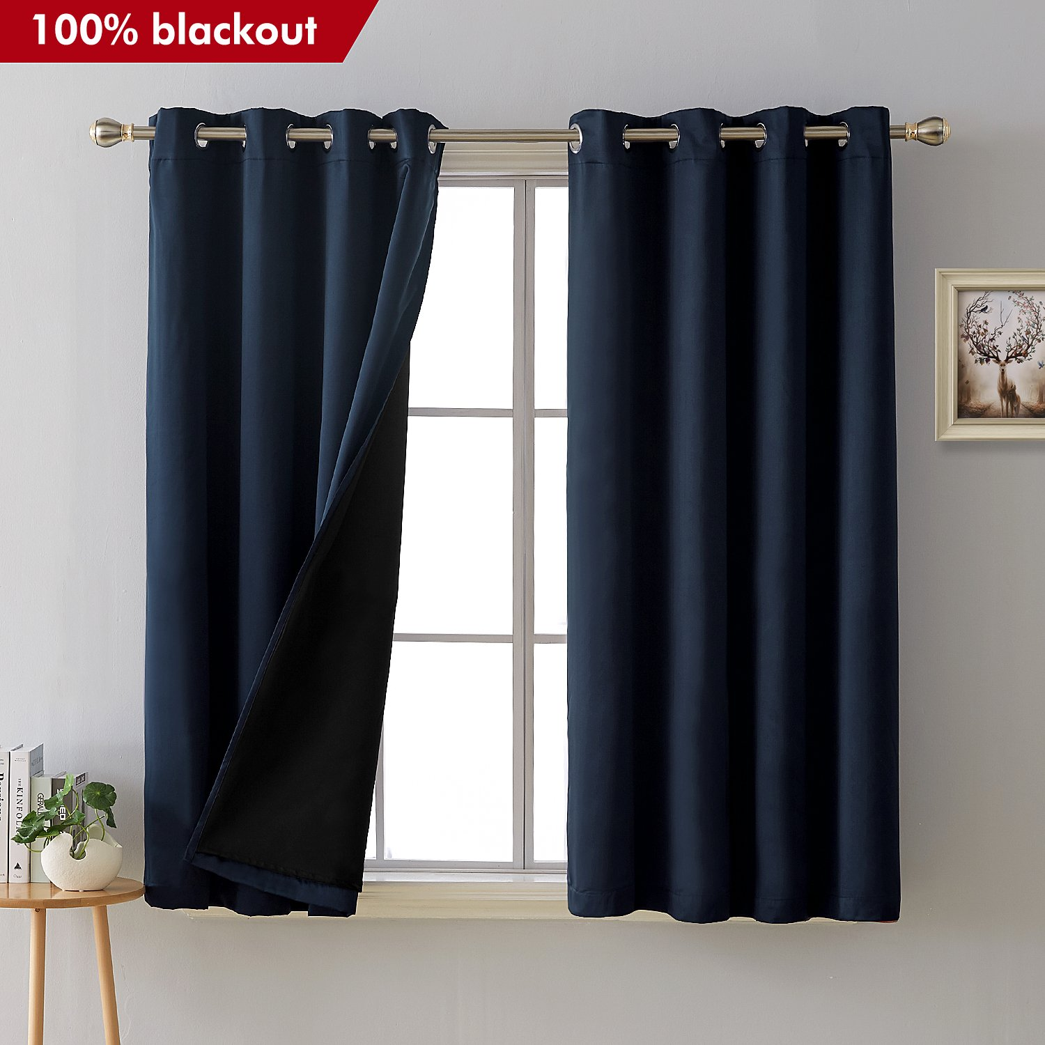 Total Blackout Curtains Grommet Faux Silk Satin Thermal Insulated Room Darkening