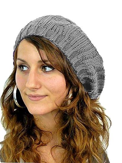 Muetze 4570 Mujer boina Gorro de punto gorro de punto lana cap (gris ... 3e6ad36f9ca