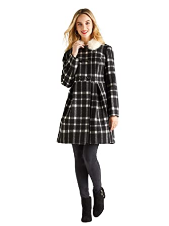 e23f0c9c37e4 YUMI Monochrome Gingham Swing Coat Black: Amazon.co.uk: Clothing