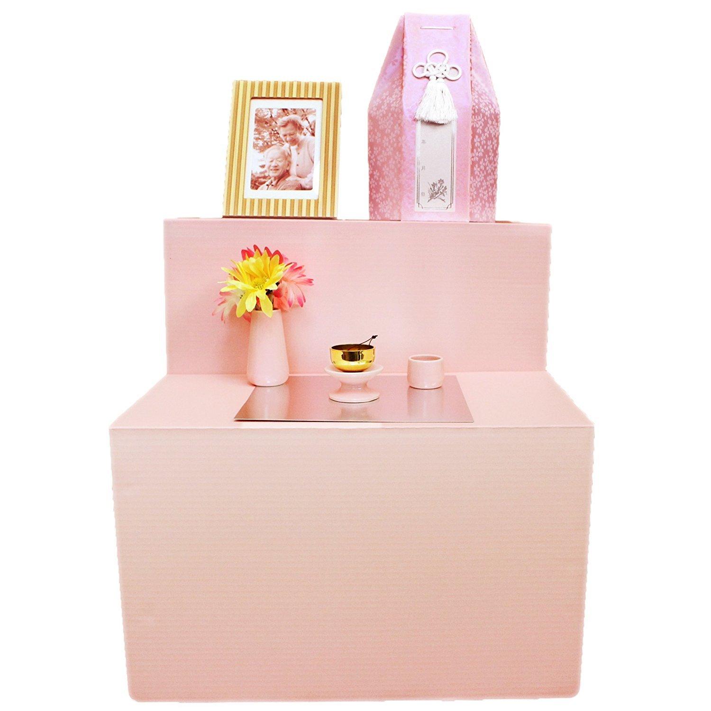 祭壇 ミニ祭壇 葬儀 仏具3点セット おりんつき ピンク 後飾り 供養 仏具 ろうそく8本入り Cセット B01N6DMNMU