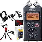 Tascam Portable Digital Recorder (DR-40) w/Bundle + 32GB Micro SD Card + AA Charger (100-240v) w/ 4 2950mah AA Batteries + Flexible Mini Table-top Tripod + Closed-Back Headphones + Tascam AC Adapter
