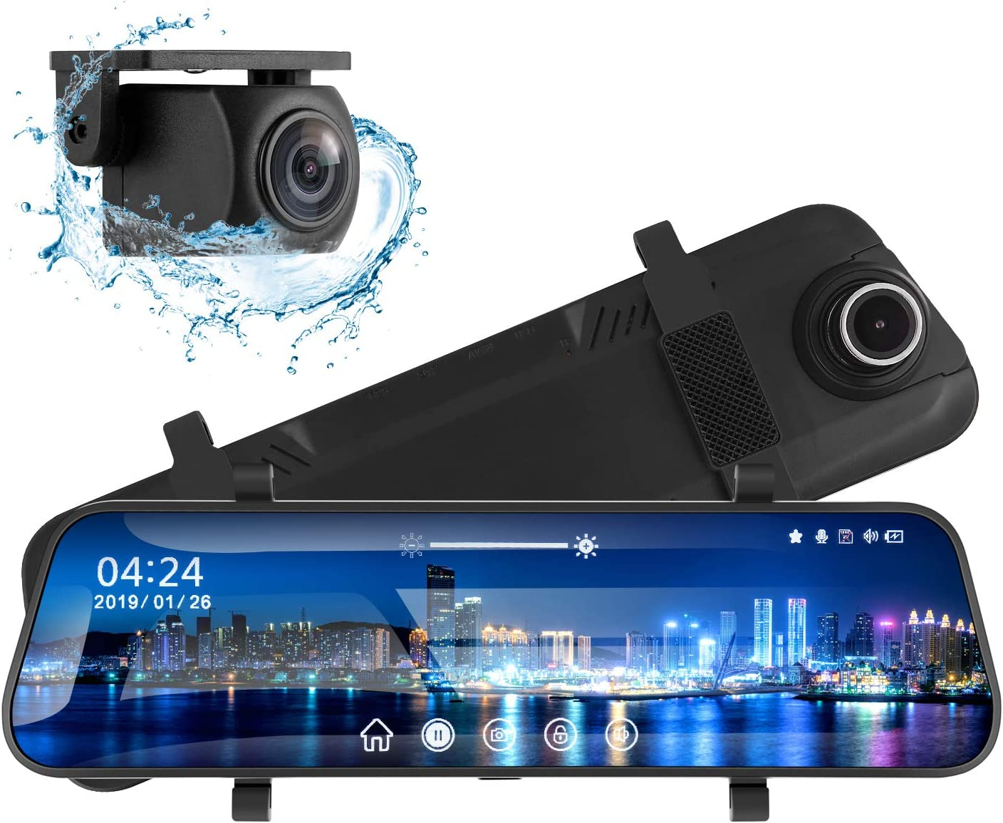 """Mirror Dash Cam for Cars 10"""" Backup Camera 1080P Dual Dash Cam Front and Rear Stream Media Touch Screen with Enhanced Night Vision G-Sensor Parking Monitor 32GB SD Card"""