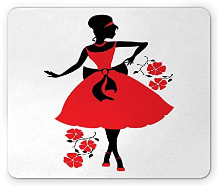 3589ef47c06ea Amazon.com : Fashion Mouse Pad, Retro Woman Silhouette Wearing an ...