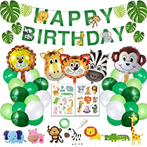 Yancan Jungle Safari Theme Birthday Party Supplies, Favors for Kids Boys Birthday Baby Shower Decor, Party Birthday Animal Balloons Decorations