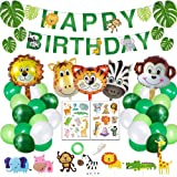 Jungle Theme Party Supplies - Happy Birthday Banner - Jungle Theme Party Decorations for Boys - Jungle Theme Balloons…