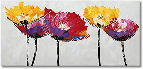 Hand Painted Modern Flower Oil Painting on Canvas Abstract Wall Art Colorful Floral Decor Hanging Contemporary Artwork