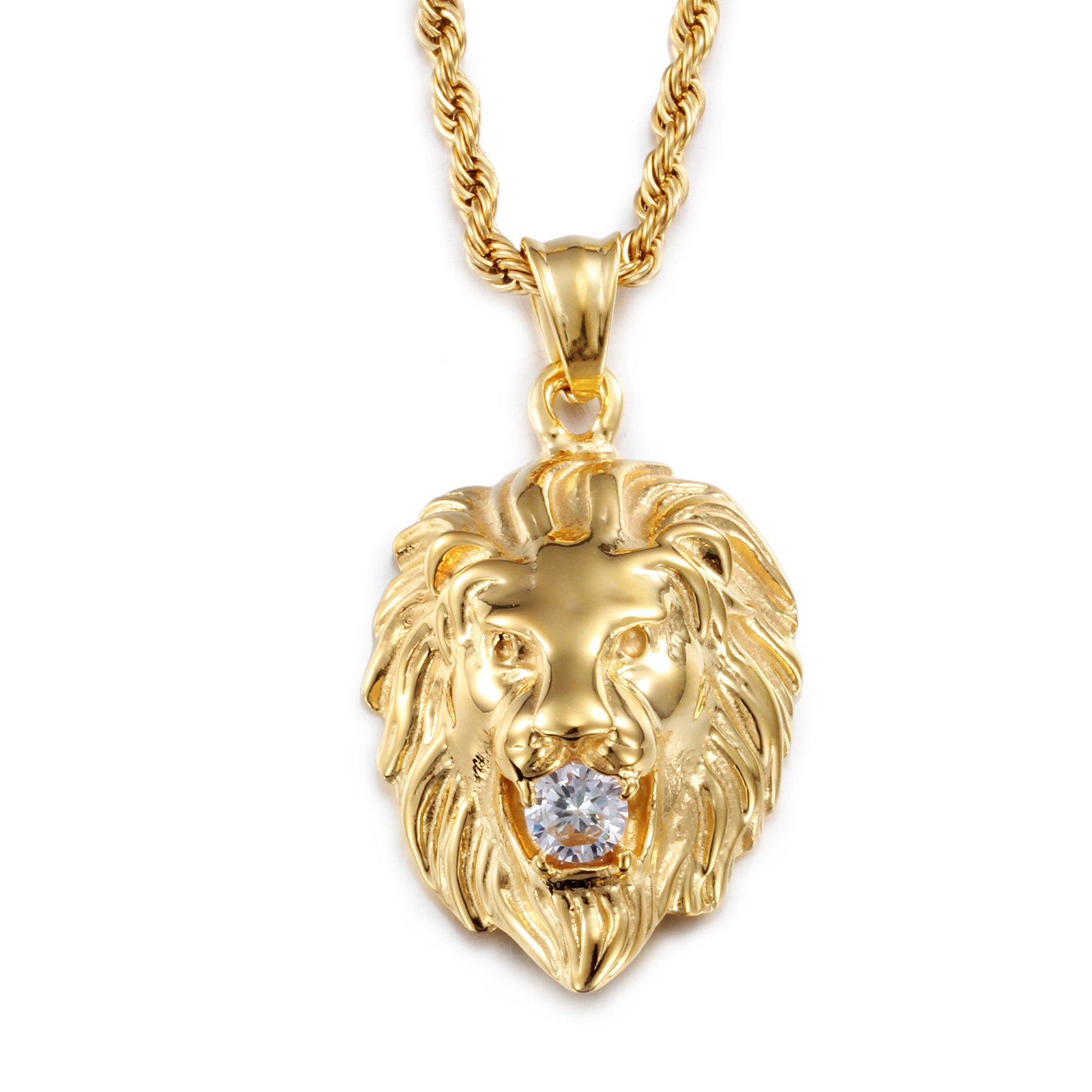 Vintage Men's 18K Gold Plated Stainless Steel Lion King Zodiac of Leo Cubic Zircon Chain Pendant Necklace