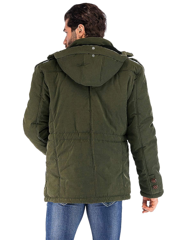 4f2a537ebe Amazon.com: Yozai Mens Winter Military Warm Jacket Fleece Coat with  Detachable Fur Hood Outwear: Clothing