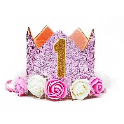 MOONOO Dog Birthday Hat Girls Happy Tiara Crown Rose Flowers Gold Glitter 0 9
