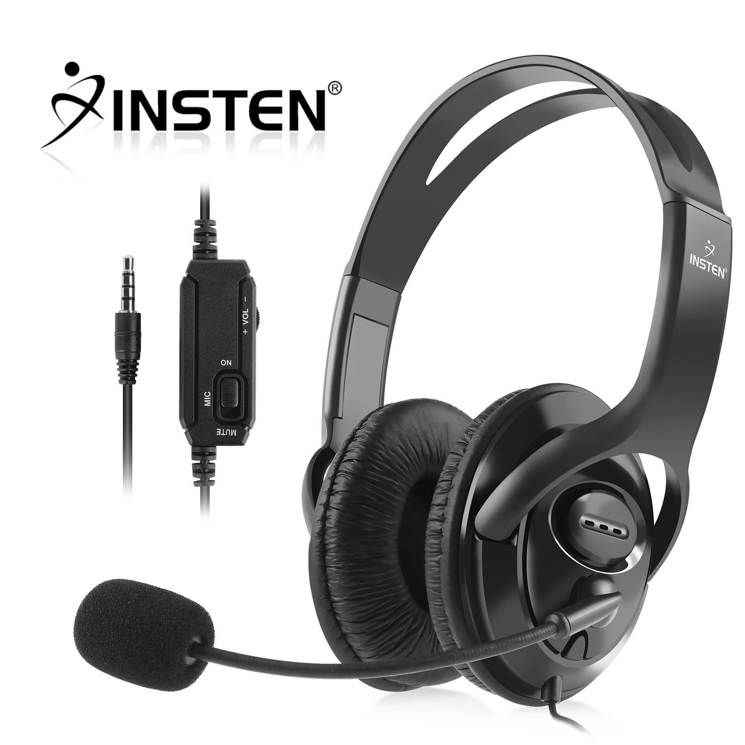 Insten Headset with Mic compatible with Sony PlayStaion 4, Black by INSTEN