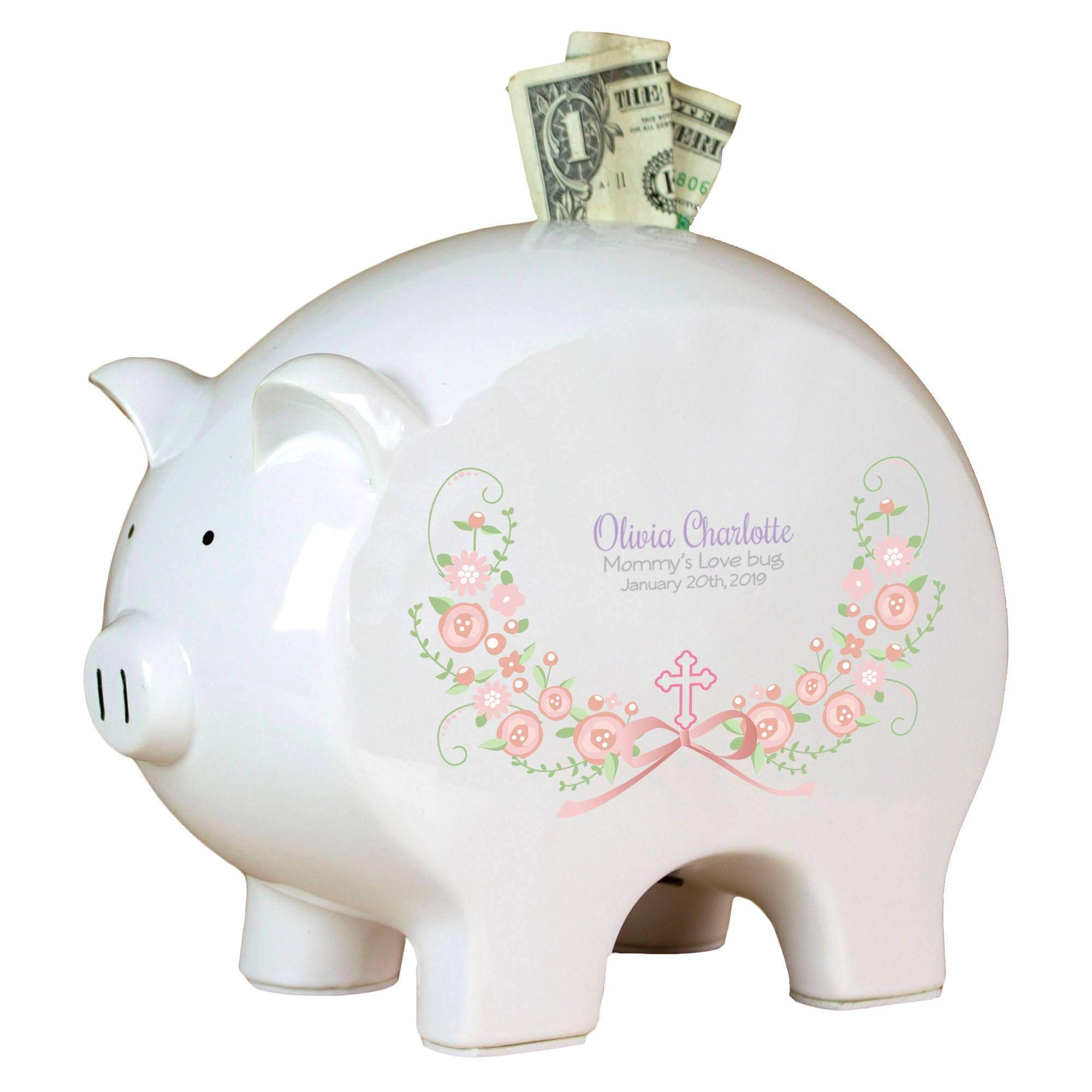 Personalized Baptism and First Communion Blush Floral Garland Piggy Bank-3L