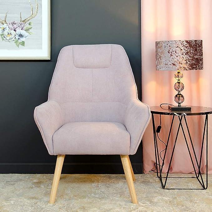 Sillón tapizado de Tela Rosa nórdico para salón Iris ...