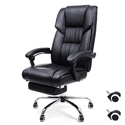SONGMICS Office Chair High Back Executive Swivel Chair With Large Seat And  Pull Out Footrest