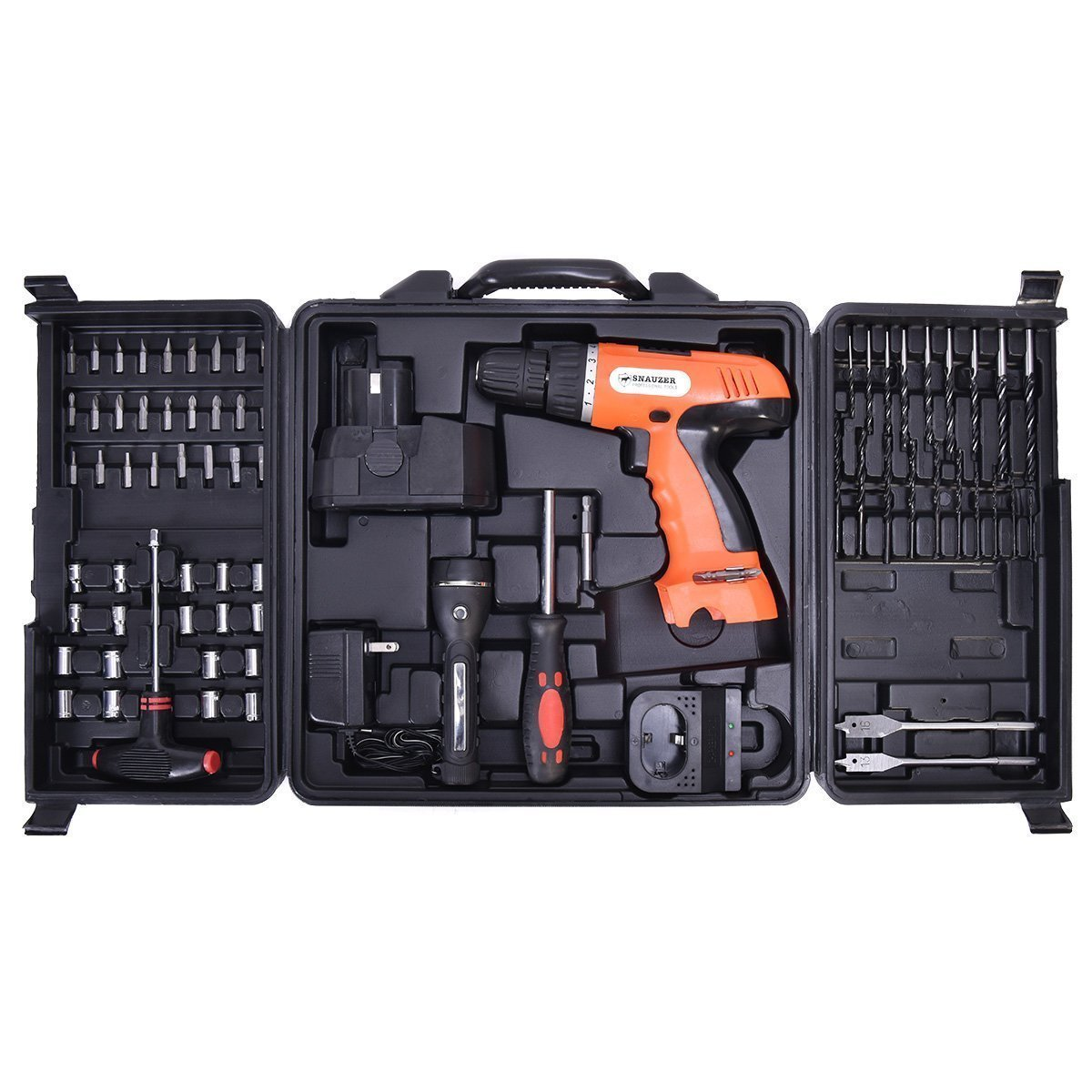 Goplus 18V Cordless Drill Set Driver Kit Construction Work Screwdriver, 78-Piece, Driver Bits Included, Max 3/8''